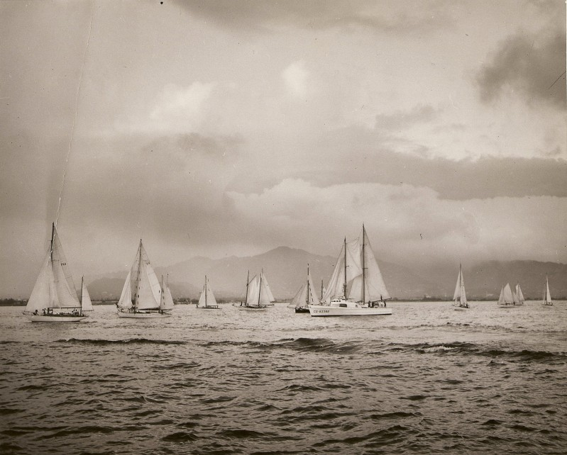 Grandpa's boat at the head of the race leading everyone out of the San Francisco Bay.